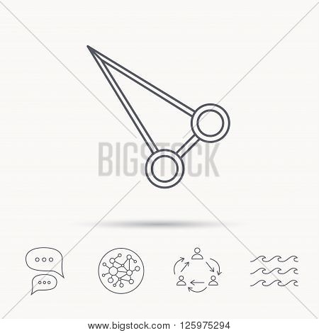 Pean forceps icon. Medical surgery tool sign. Global connect network, ocean wave and chat dialog icons. Teamwork symbol.