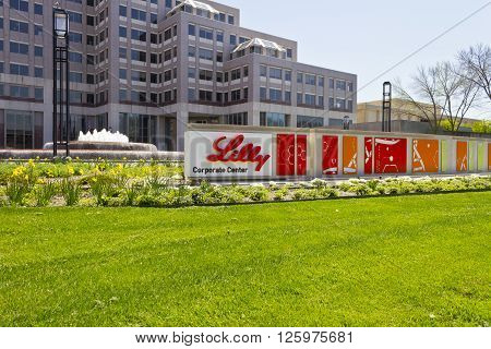 Indianapolis - Circa April 2016: Eli Lilly and Company World Headquarters. Lilly makes Medicines and Pharmaceuticals VI