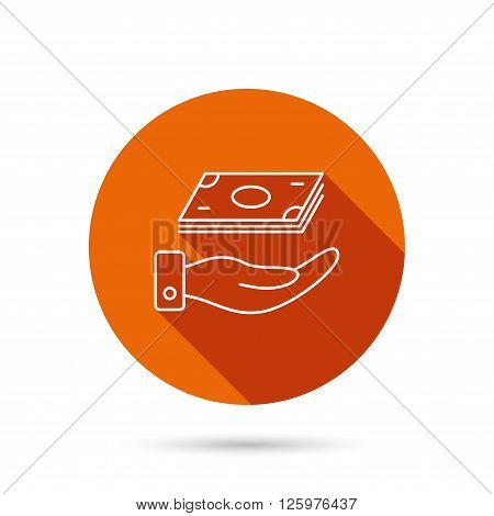 Save money icon. Hand with cash sign. Investment or savings symbol. Round orange web button with shadow.