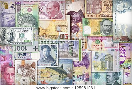 Different currency bills creating a colorful background