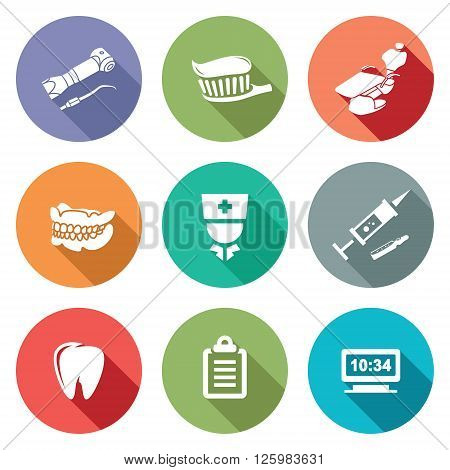 Stomatology Icons Set. Vector Illustration. Isolated Flat Icons collection on a color background for design