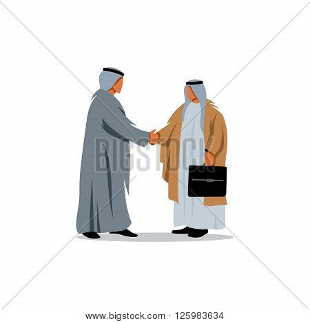 Successful Arabic business people shaking hands over a deal.