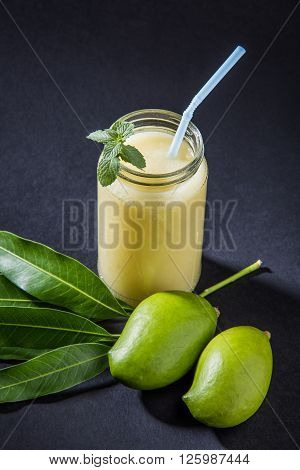 Aam Panna or Salted Green Mano Juice or green kairi panha or kairi pahna, refreshing cold dring in indian summer poster