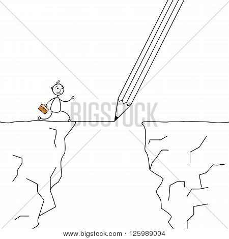 Stick man crossing the cliffs with a pencil drawing the bridge