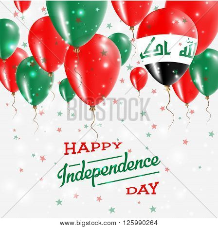 Iraq Vector Patriotic Poster. Independence Day Placard With Bright Colorful Balloons Of Country Nati