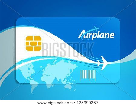 airplane flight tickets air fly sky blue travel background takeoff plastic card