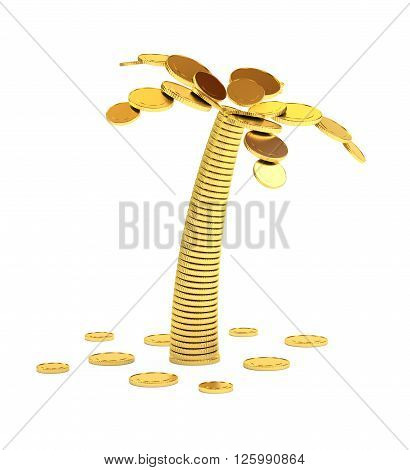 Palm tree from coins isolated on white illustration.