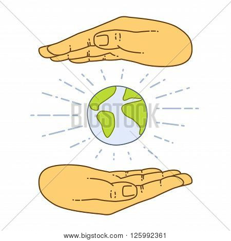 Vector flat style on background. Illustration of Hand Grasping the World. Globe in hands isolated over white background