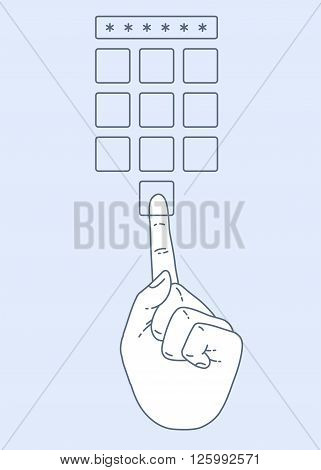 Vector flat style on background. Illustration of Enter secret pin code. Hand and finger pushing button on a keypad. Password and unlock, access, identification, unlock symbol. Buttons