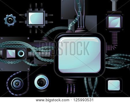 Cyberpunk Illustration Featuring Interconnected Electronic Devices