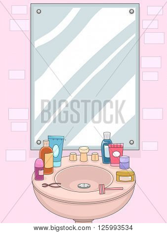 Illustration of a Mirror with Grooming for Products for Women Displayed on the Shelf
