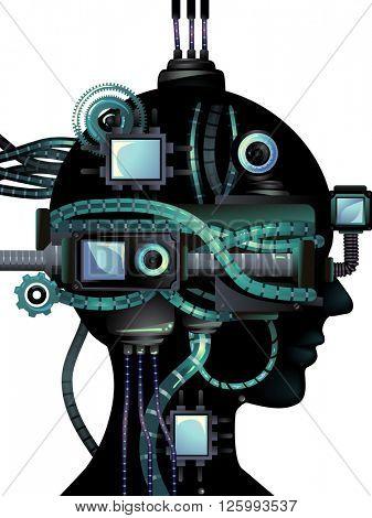 Cyberpunk Illustration Featuring a Cybernetic Head