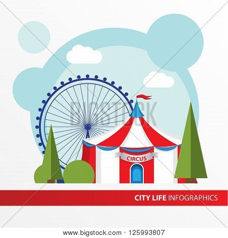 Red and white Circus tent icon in the flat style. Big Top Circus Tents. Concept for city infographic. Different types of the cultural life of the city in the flat style.