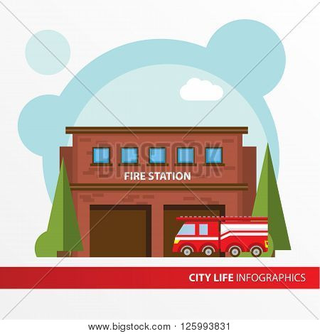 Fire station building and fire engine icon in the flat style. Emergency fire office. Concept for city infographic. Different types of Municipal life of the city in the flat style.