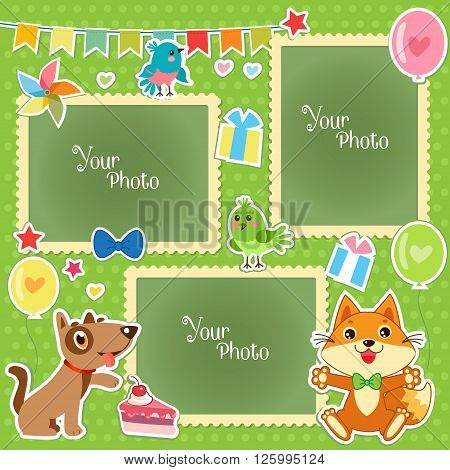 Photo Frames For Kids. Decorative Template For Baby Family Or Memories. Scrapbook Vector Illustration. Birthday Children'S Photo Framework. Photo Frames Collage. Photo Frames Making At Home.