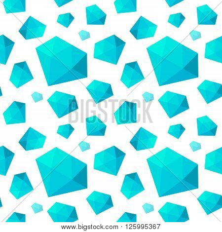 Seamless pattern with the different size blue diamonds on a white background. Vector illustration easy to edit.