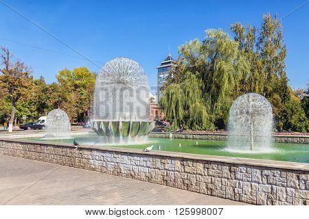 Lipetsk, Russia - September 18, 2014: Beautiful fountains on Lenin Street Lipetsk on a sunny day