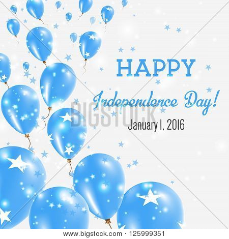 Micronesia, Federated States Of Independence Day Greeting Card.. Flying Balloons In Micronesia, Fede