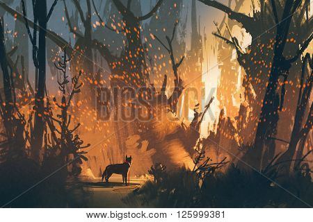 lost dog in the forest with mystic light, illustration painting