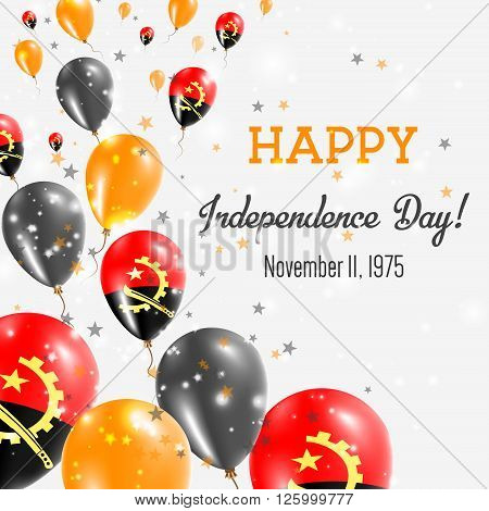 Angola Independence Day Greeting Card. Flying Balloons In Angola National Colors. Happy Independence