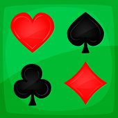 Casino Poker Icons On Green Carpet Illustration of casino and poker icons with spades on green carpet background poster