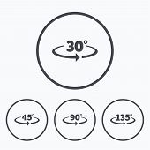 Angle 30-135 degrees icons. Geometry math signs symbols. Full complete rotation arrow. Icons in circles. poster
