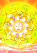Cartoon illustration of a sun god in the sky with shinning sunlight ancient pattern ray in mother of nature and fairy tale concept poster
