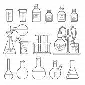 Set in Line style. chemical flask. Erlenmeyer flask, distilling flask, volumetric flask, test tube. Vector illustration. poster