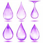 Set of opaque violet drops on white background poster