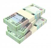 Indonesian rupiah money isolated on white background. 3D illustration. poster