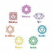 Isolated indian ornamental 7 chakra icons set. Chakras used in Hinduism Buddhism and Ayurveda. Vector Sahasrara Ajna Vissudha Anahata Manipura Svadhisthana Muladhara. Color yoga chakra mandalas poster