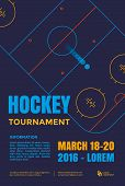 Ice hockey tournament poster. Vector line illustration hockey arena with puck. poster
