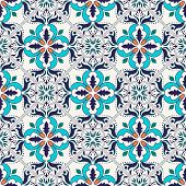 Vector seamless texture. Beautiful colored pattern for design and fashion with decorative elements. Portuguese tiles Azulejo Talavera Moroccan ornaments in blue and orange colors poster