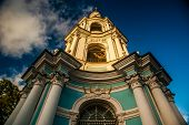 Saint Nicholas' Cathedral, Nikolsky sobor, popularly known as the Sailors' Chruch in Saint Petersburg, Russia at twilight time. poster