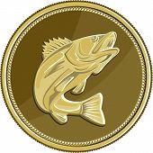 Illustration of a barramundi or Asian sea bass (Lates calcarifer) jumping viewed from the side set inside gold brass coin medallion done in retro style. poster