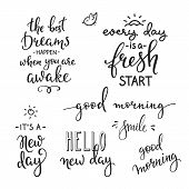 Lettering quotes set motivation for life and happiness. Calligraphy Inspirational quote. Morning motivational quote design. For postcard poster graphic design. Every Day is a Fresh Start. Good morning poster