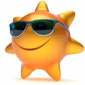 Smiley sun star face sunglasses cheerful summer smile cartoon ball emoticon happy sunny heat orange yellow person icon. Smiling laughing character holiday chilling sunbathing sunbeam avatar. 3D render poster