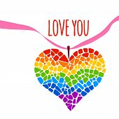 Mosaic rainbow heart on white background. Rainbow heart vector icon. Rainbow heart  LGBT logo. LGBT symbol. Gay culture sign. Gay pride design element. Mosaic rainbow heart with ribbon. Lettering Love you poster
