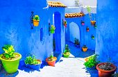 Beautiful blue medina of Chefchaouen city in Morocco, North Africa poster