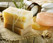 Handmade Soap closeup.Spa products poster