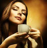 Beautiful Woman Drinking Coffee poster
