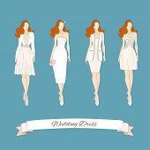 Wedding draw dresses set. Bridal vector illustration. poster
