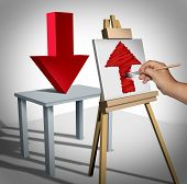 Optimistic positive psychology and success thinking as a person looking at a downward 3D illustration arrow and interprets it on canvas as an upward arrow as a metaphor for optimism and business view. poster