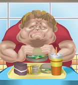 an obese man in fast food restaurant consuming junk food. poster