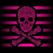 Floral pattern of form pink skull and crossbones. Pink stripes. Emo poster