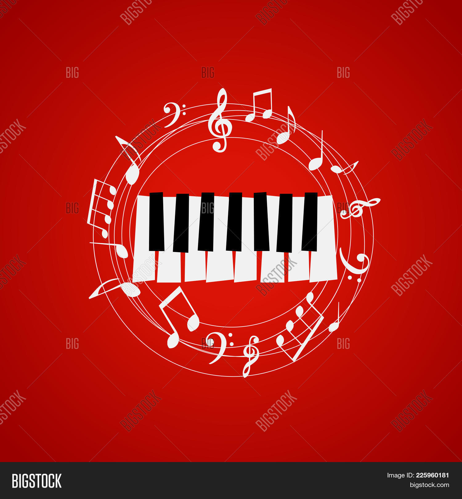 Piano Keys With Stave And Music Notes On Red Background Festival Poster