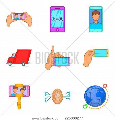 Portable computer icons set. Cartoon set of 9 portable computer vector icons for web isolated on white background