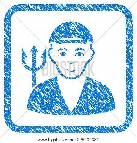 Satan rubber stamp watermark. Icon vector symbol with unclean design and dust texture inside rounded square frame. Scratched blue sign. Boy face has smiling emotion. a person from satan with a cap.