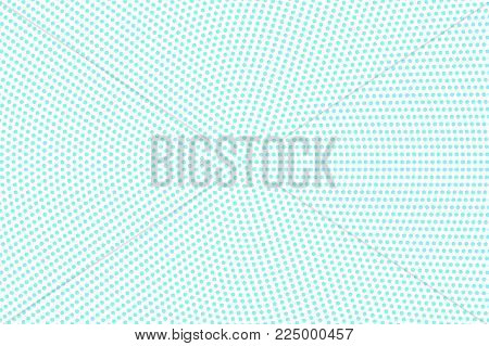 Blue On White Dotted Halftone. Half Tone Vector Background. Smooth Dotted Pattern. Retro Futuristic
