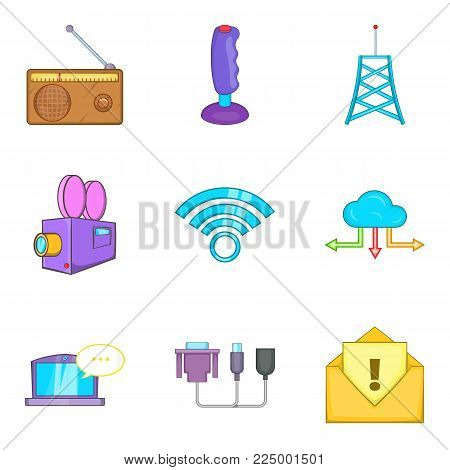 Mobile theme icons set. Cartoon set of 9 mobile theme vector icons for web isolated on white background